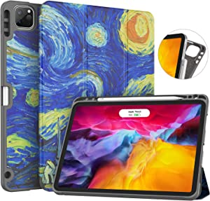 Soke New iPad Pro 11 Case 2020 & 2018 with Pencil Holder - [Full Body Protection + Apple Pencil Charging + Auto Wake/Sleep], Soft TPU Back Cover for 2020 iPad Pro 11 inch(Starry Night)