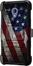 TurtleArmor | Compatible with Alcatel 1X Evolve Case | IdealXtra Case | TCL LX Case [Hyper Shock] Rugged Hybrid Dual Layer Armor Holster Belt Clip Case - American Flag