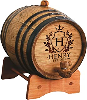 Personalized Whiskey Barrel - Engraved Wine Gift - Custom Oak 2 Liter Barrel - Knight Design