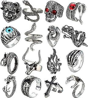 ADRAMATA 16Pcs Vintage Punk Rings Gothic Dragon Wolf Claw Octopus Fish Lizard Snake Skull Rings Open Adjustable Punk Ring ...