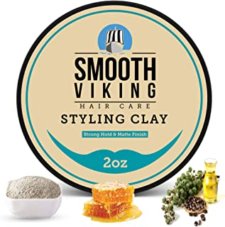 Hair Clay For Men   Smooth Viking Hair Styling Clay For Matte Finish & Strong Hold (2 Ounces) - Non-Greasy & Shine-Free Ha...