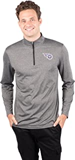 Ultra Game NFL Tennessee Titans Men's Quarter Zip Pullover Athletic Quick Dry Long Sleeve Tee Shirt, Heather Charcoal, Large