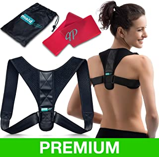 Body Wellness Posture Corrector for Women & Men – Back Brace for Posture Correction – Adjustable and Comfortable Clavicle Brace – Posture Fixer + Resistance Band + Detachable Pads