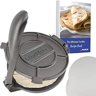 10 Inch Cast Iron Tortilla Press by StarBlue with FREE 100 Pieces Oil Paper and Recipes e-book - Tool to make Indian style...