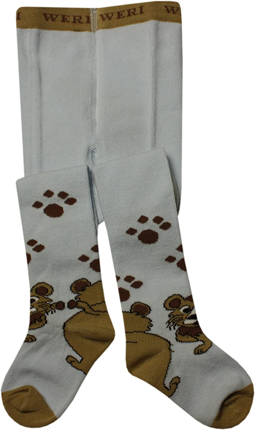 cotton in 3 great colours Weri Spezials Baby and childrens tights for boys with lion motif