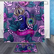 NUXIANY Shower Curtain Set with Hooks, Illustration Crowned Peacock Pearls On Roses Bathroom Mat Set Decor Bath Mat Extra Long, W72 xH72