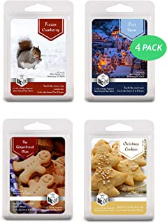 BAC Home 4 Pack - Christmas Collection Soy Blend Scented Wax Melts Wax Cubes, 10.0 oz, [24 Cubes] with First Snow, Frozen Cranberry, The Gingerbread Man and Christmas Cookies