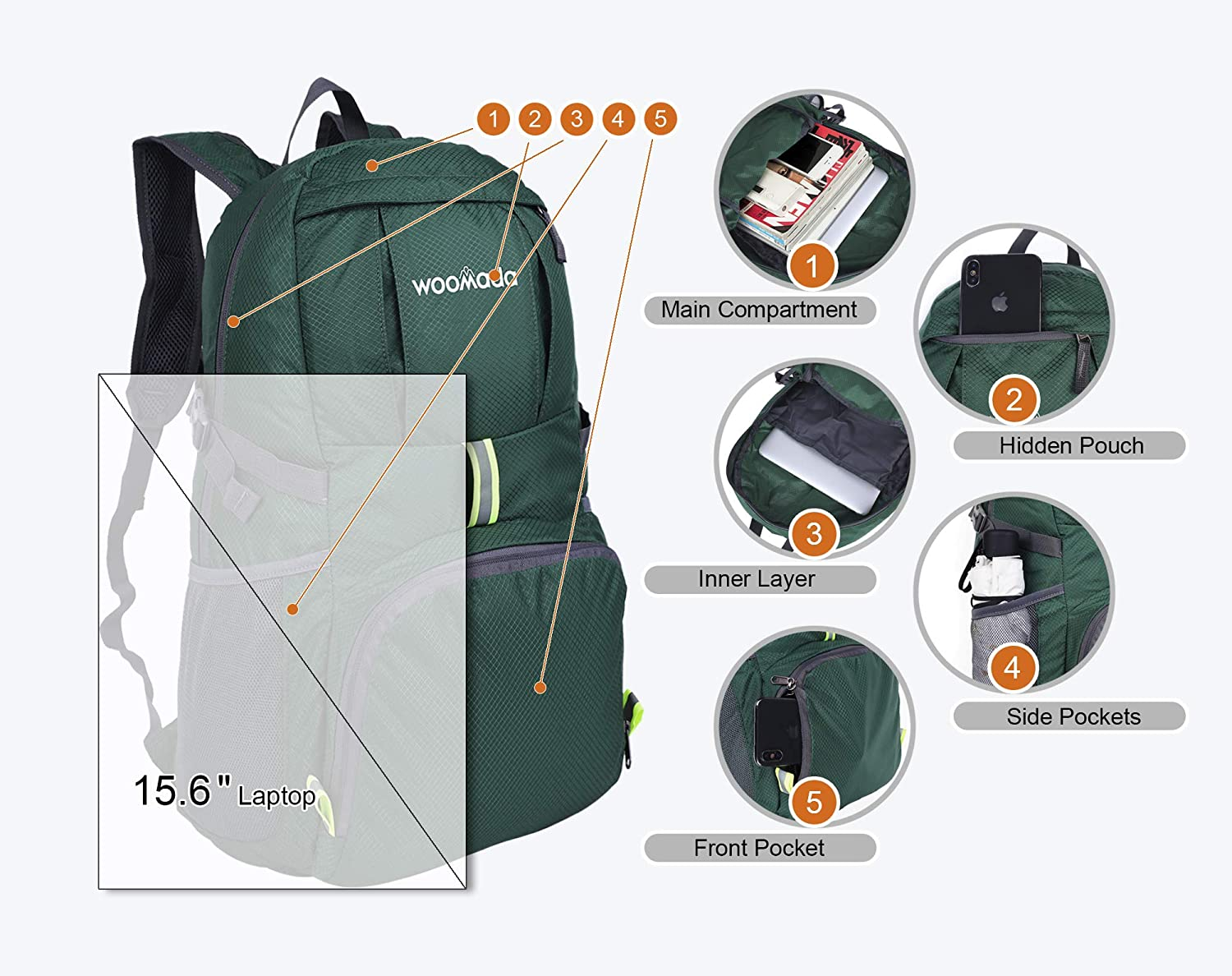 WOOMADA 35L/&40L Lightweight Water Resistant Packable Backpack Outdoor Travel Hiking Daypack