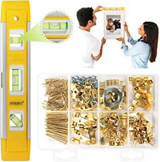 Picture Hanging Kit, Picture Frame Hanger Tool, 221 Pieces Heavy Duty Photo Hanger Accessories with Picture Hanging Wire, Hooks, Nails and Hanger Level