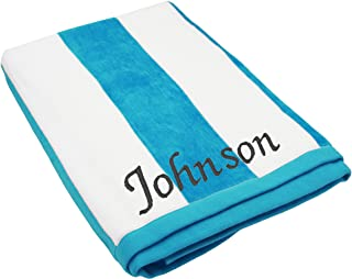 The Wedding Party Store Premium Personalized Striped Cabana Beach Towel 35