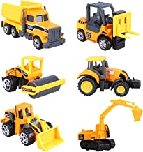 Cltoyvers 6 Pcs Mini Metal Construction Vehicle Toys Set for Kids - Forklift, Bulldozer, Road Roller, Excavator, Dump Truck, Tractor, Diecast Construction Site Vehicles Toy Gift for 3, 4, 5 Years Old
