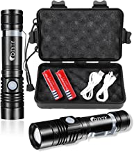 OTYTY USB Rechargeable LED Flashlight, Super Bright High Powered 1000 Lumen Tactical Flashlights Torch with 3 Modes, Pocke...