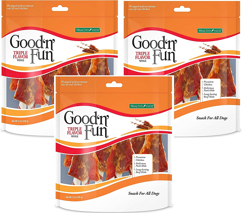 Good'n'Fun Triple Flavored Rawhide Wings Dog Treats, 8 oz