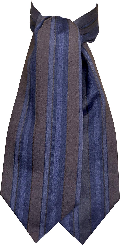 Remo Sartori Made in Italy Men's Blue and Brown Striped Self Cravat Ascot Tie, Silk