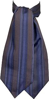 Remo Sartori - Foulard Uomo Ascot Doppia Pala in Seta Maxi Righe Blu Marrone, Made in Italy