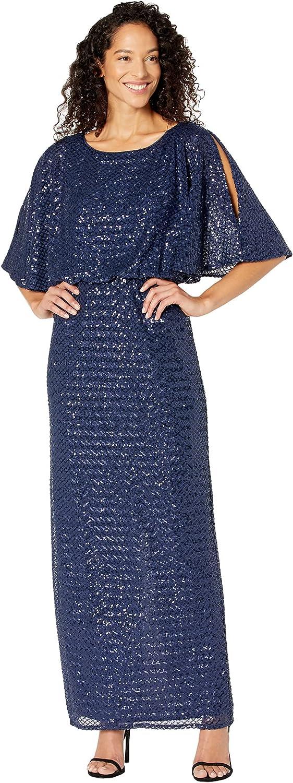 70s Sequin Dresses, Disco Dresses Alex Evenings Womens Long Blouson Dress with Flutter Sleeves  AT vintagedancer.com