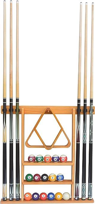 Wood Billiards Pool Cue Stick Wall Rack Holder For 6 Cues Dark Oak Mahogany