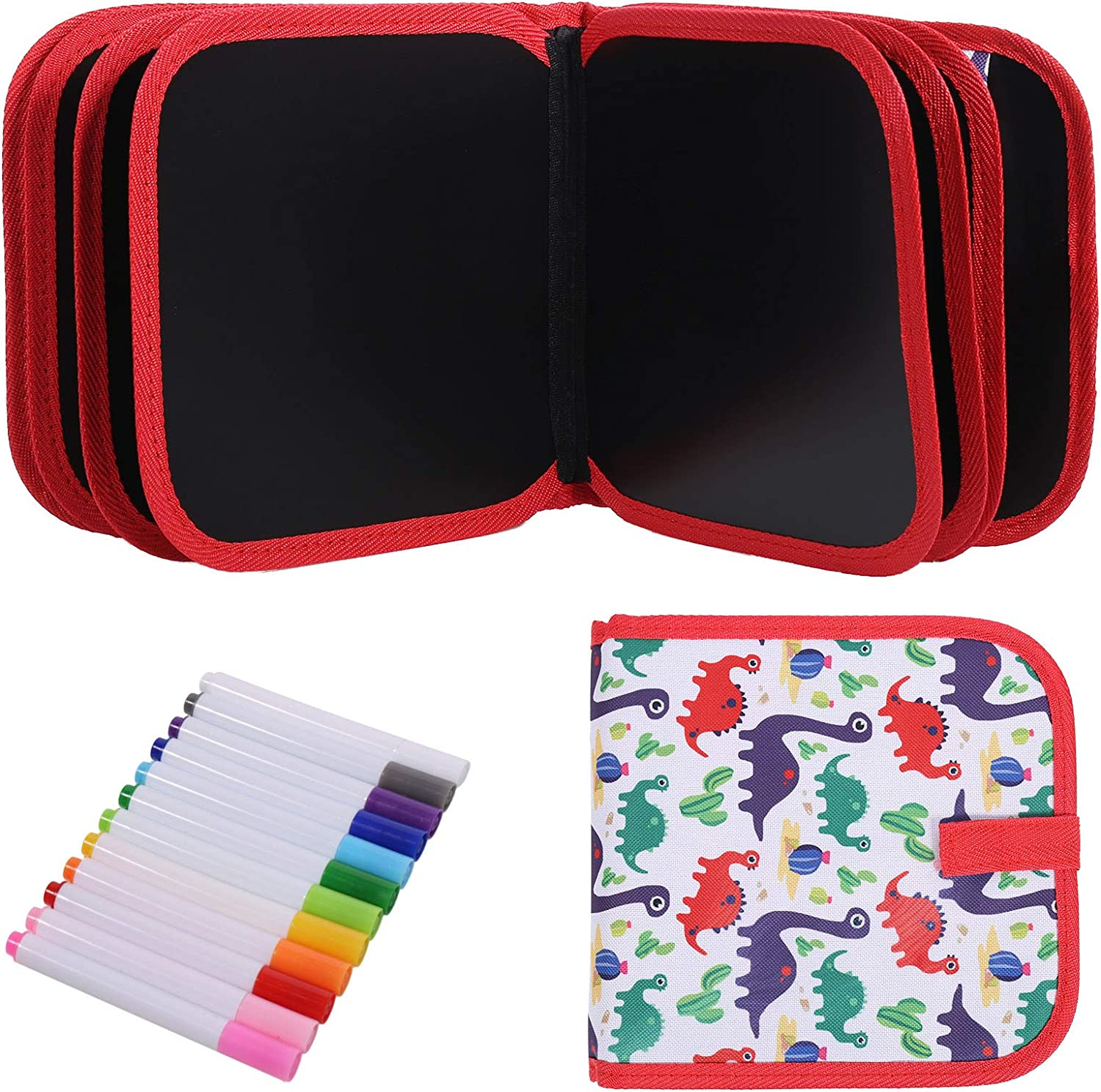 Aoliandatong Erasable Doodle Book Graffiti Blackboard Book Learning Toy for 3-8 Year Old Boys Girls Protable Drawing Board 14 Pages with 12 Colored Magic Pens dinosaur//white+red