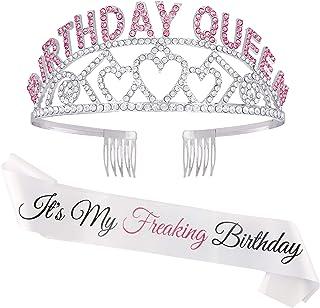 Zipoka Birthday Sash and Tiara for Women - Its My Freaking Birthday Crown Party - Happy Birthday Decorations for Women