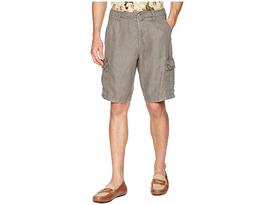 True Grit Textured Linen Vintage Washed Cargo Shorts with Stitch Details (Vintage Charcoal) Men