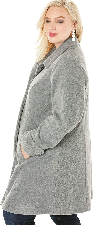 Roaman's Women's Plus Size Plush Fleece Jacket Soft Coat