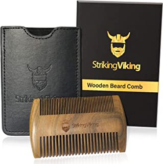 Striking Viking Wooden Beard Comb for Men - Premium Wood Pocket Comb for Beard Hair and Mustache - Includes Gift Box and Free Carry Case (Black Case)