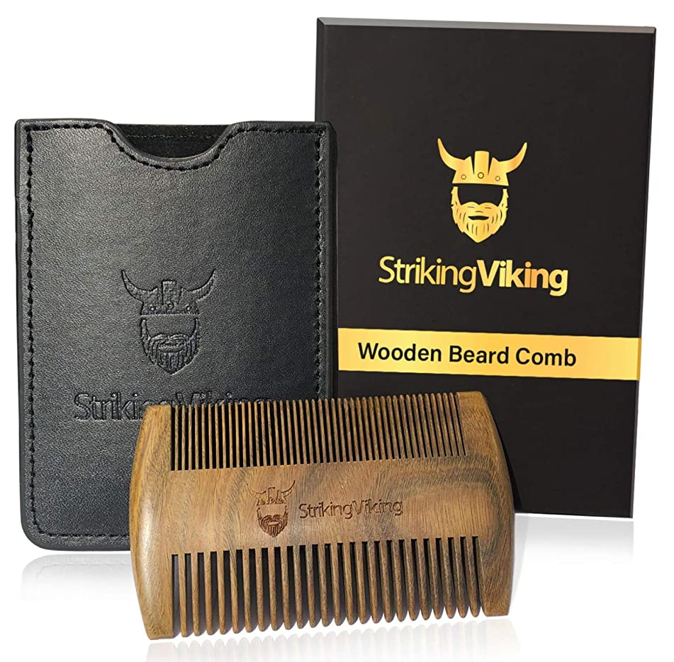 Wooden Beard Comb, w/Premium Case & Gift Box by Striking Viking - Anti-Static Sandalwood Pocket Comb with Fine & Coarse Teeth for Beard Hair and Mustache - Midnight Black Case