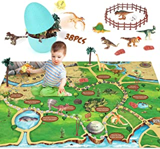 Dinosaur Toys Figure Playset Dice Game with Easter Egg Container Easter Basket Fillers Stuffers 48 X 32'' Play Mat Action Figure to Create a Dino World Gifts for Kids Toddler Boys Girls
