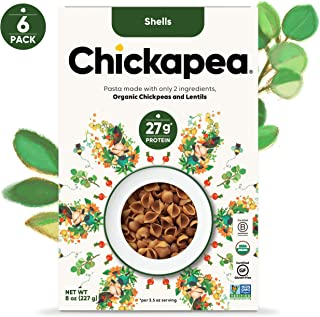 Chickapea Organic Chickpea Lentil Pasta - Shells - High Protein Gluten Free Healthy Pasta (Pack of 6)