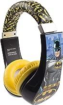 Batman 30382 Kid Safe Over the Ear Headphone with Volume Limiter, w/Volume Limiter, 3.5MM Stereo Jack, Padded, Bat Man Blue Black & Yellow Super Hero by Sakar, Black/ Yellow