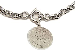 Catholic - 28 MM St. Benedict Medal + Solid 7MM Rolo Chain Necklace with Mariner Clasp