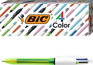 BIC 4-Color Fluo Ballpoint Pen, Medium/Bold Point (1.0/1.6 mm), Assorted Inks, 3-Count