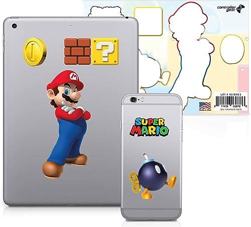 Super Mario, 6 Pack, Mario Tech Decals, Waterproof Stickers for Phone, Laptop, Water Bottle, Skateboard, Vinyl Sticke...