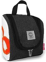 360° Grad Exclusiv-Kollektion Kulturbeutel zum Aufhängen, Kosmetik-Tasche aus Segeltuch Damen/Herren/Unisex Matrose XL anthrazit-grau/weiß mit Zahl neon-orange, wasserabweisend, Kulturtasche