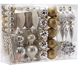 Sea Team 91 Pieces of Assorted Shatterproof Christmas Ball Ornaments Set Seasonal Decorative Hanging Ornament Set with Reusable Hand-held Gift Package for Holiday Xmas Tree Decorations, Gold & White