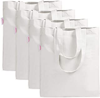Shopping Bag by Dimayar 4Packs Canvas Tote Bag for Crafting Decorating Off White