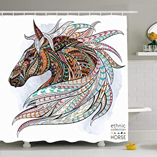 Ahawoso Shower Curtain 72 x 72 Inches On Tattoo Patterned Head Horse Pattern Graphic Abstract Strength Design Wild Waterproof Polyester Fabric Bathroom Set with Hooks