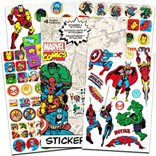 Marvel Comics Avengers Fun Set Bundle -- 110 Marvel Heroes Stickers and 26 Temporary Tattoos with Separately Licensed Specialty Popart Sticker (Marvel Legends Party Supplies)