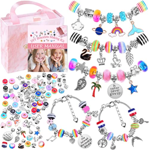 Bracelet Making Kit for Girls, Flasoo 85PCs Charm Bracelets Kit with Beads, Jewelry Charms, Bracelets for DIY Craft, ...
