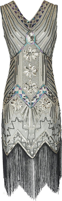 Celeblink Women's 1920s Dress V Neck Beaded Sequin Fringed Gatsby Flapper Dress