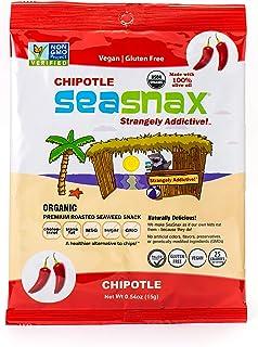 SeaSnax Organic Roasted Seaweed Snack Chipotle, 0.54 oz (Pack of 5)