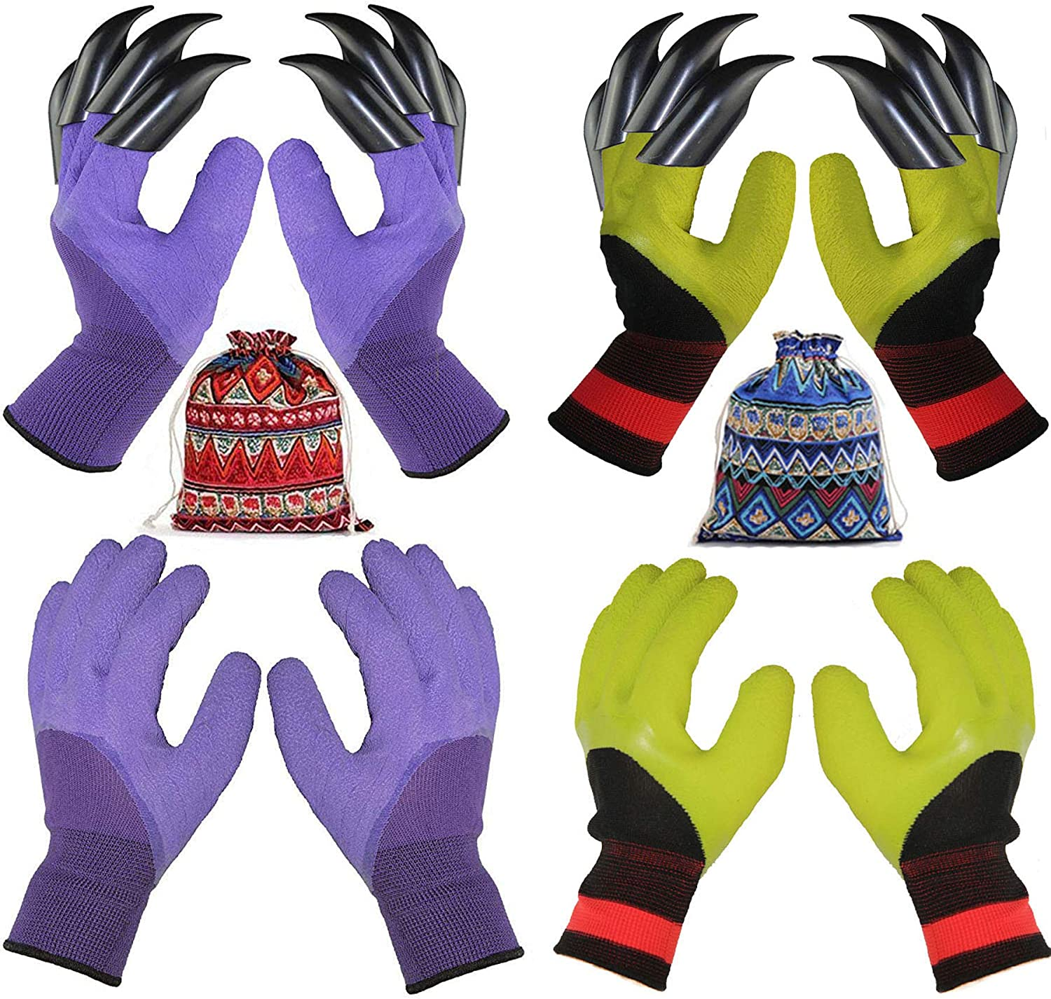 4 Pairs Garden Gloves With Gift Fingertips Claws Special sale item Dedication For Best
