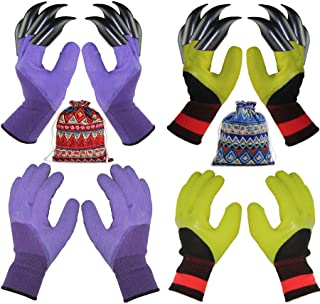 4 Pairs Garden Gloves With Fingertips Claws,Best Gift For Gardener,2 Pairs Working Genie Gloves With Double Claws,2 Pairs ...