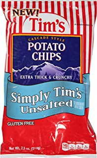 Tim's Cascade Style Potato Chips, Unsalted, 7.5 Ounce