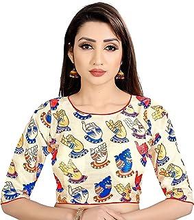 e5516474681d3b Ocean Fashion Women's Satin Silk Kalamkari Work Round Neck Readymade Saree  Blouses (Grey; Medium