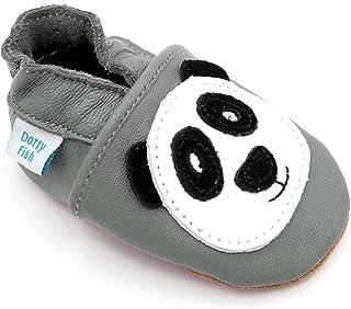 Dotty Fish - Chaussures Cuir Souple bébé et Bambin - Dessins de Filles avec des Coeurs - 0-6 Mois - 3-4 Ans