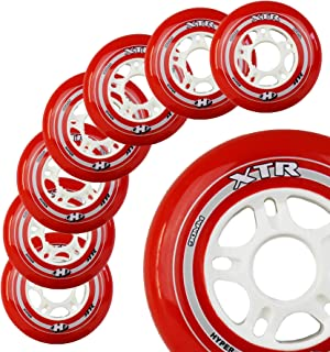 Inline Skate Wheels Hyper XTR - 8 Wheels - 84A - Sizes: 84MM, 90MM, 100MM - Speed Skating, Fitness and Recreational Wheels