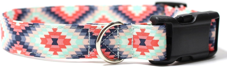 Aztec Summer Pink and Mint, Designer Cotton Dog Collar, Adjustable Handmade Fabric Collars (M  1) by Ruff Roxy