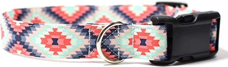 Ruff Roxy Aztec Summer Pink and Mint, Designer Cotton Dog Collar, Adjustable Handmade Fabric Collars