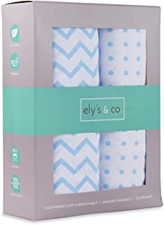 Ely's & Co Fitted Crib Sheet Set   Toddler Sheet Set 2 Pack 100% Jersey Cotton for Baby Boy Blue Chevron and Polka Dots